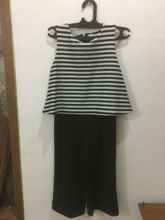 Jumpsuit stripe black n white