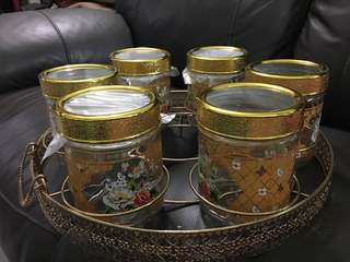 Cookie jars with serving holder
