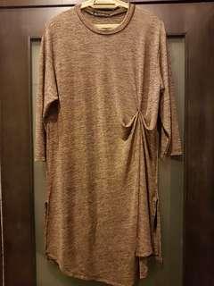 Gold lycra knitted dress