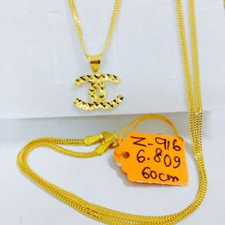Set Rantai Loket Chanel Emas 916
