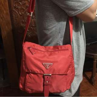 Preloved Authentic Prada Red Nylon Crossbody Bag