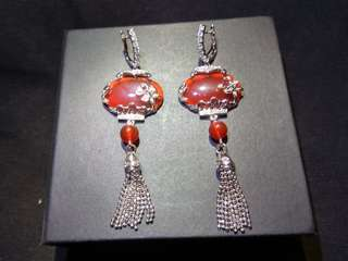 Red Agate and Sterling Silver 925 Chinese Lantern Earrings 紅瑪瑙純銀燈籠耳環