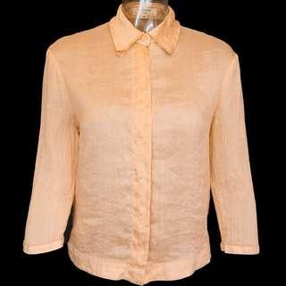 🚚 日本品牌RUMERE粉膚色蠶絲亞麻七分袖襯衫 質感超好