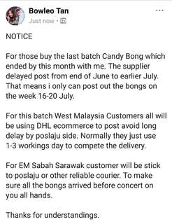 Important NOTICE for current batch CANDY BONG