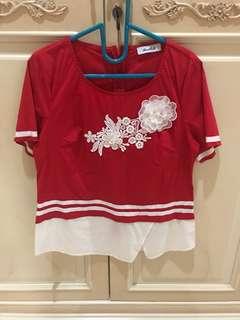 NEW atasan merah putih / red white top