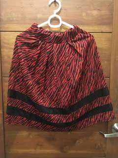 Red midi A-line skirt