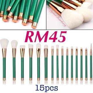 15pcs green brushes Makeup Brush Berus Makeup
