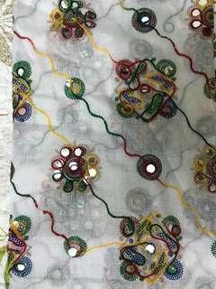 Embroidery dupta with plastic mirror mirror work