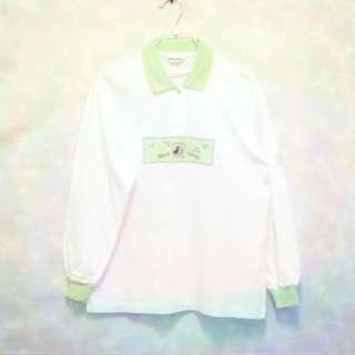 三件7折🎊 Black&White 黑白狗 Polo衫 白淺綠 電繡logo 長袖 日本製 老品 復古 古著 Vintage