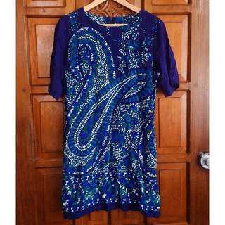 Nita Blue Green Floral Print Dress