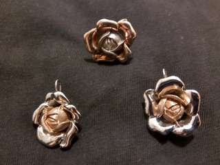 (SET) Rose and Silver Plated Earrings and Ring