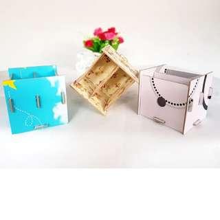 Kotak/Tempat Pensil pulpen serbaguna MDF Printing diatas Meja Kerja