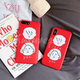 【預購】6+7+8+X/情侶/手繪/我愛你/大紅/全包/塑膠/軟殼/手機殼/iphone/i6/i7/i8/iX