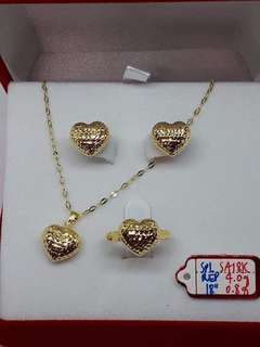 Heart Gold Jewelry Set