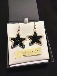 Onyx and Sterling Silver 925 Star Earrings 缟瑪瑙純銀星星耳環
