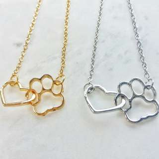 Paw print with heart outline necklace