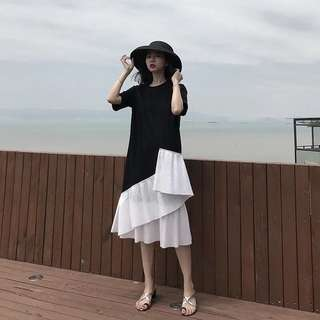 ioz 黑白撞色不規則短袖長T衣裙