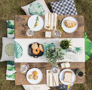 【HOME DECO】【KITCHEN】PK00051 GREEN PLANT LEAF TABLE RUNNER