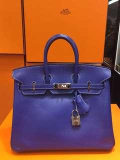 正品 95%新 Hermes Birkin 25 電光藍Epsom 銀扣手挽袋 罕有!