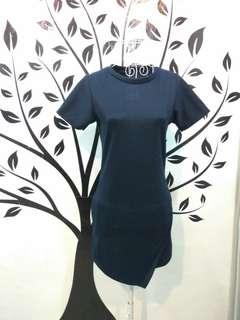 Blue Front Fold Short Dress