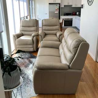 Genuine leather beige sofa set with 2 recliner and a 2 seater