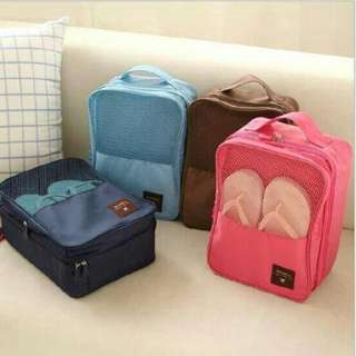 travel bag/ tas sepatu / shoes pouch travelling/ septu/ sendal - Navy