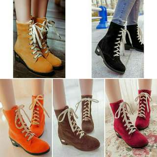 Korean Autumn Candy Colour Casual Boot