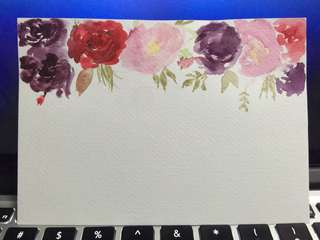Hand painted watercolor floral card