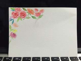 Handpainted watercolor card floral