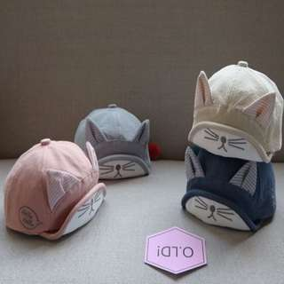 3D Embroidery Cute Kitten Baby Kids Cap Sun Hat