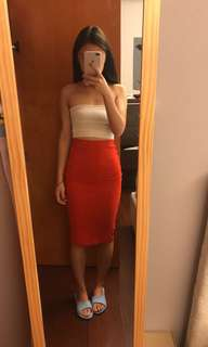 🚚 Bershka黑邊紅棉質包裙
