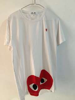 Cdg play white tees
