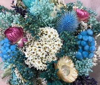 Blue Flowers in Dried Flower Bouquet / Imported Flowers / Birthday Bouquet / Anniversary Bouquet