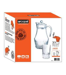 arcopal 7pc water set 1pc 1.8l glass jug 6pc 28cl tumblers food safe hygienic glass material diswhasher safe
