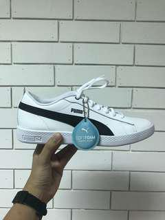 Brand New Authentic Puma White and Black Leather Sneakers