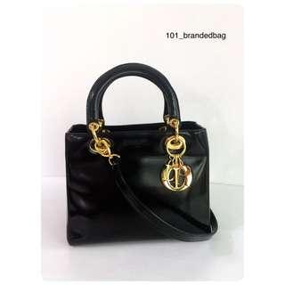 Christian Dior Matte Black Lady Dior Medium Tote Bag