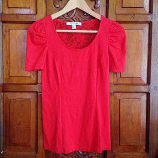 Brand New Forever 21 Red Lace Back Top Blouse