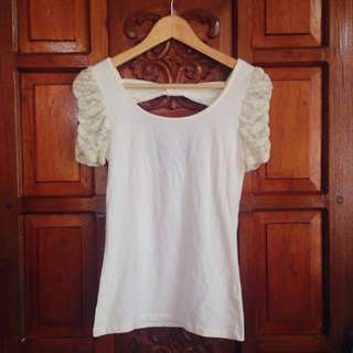 Brand New Forever 21 Off White Lace Ribbon Low Back Top Blouse