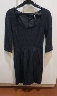 Mango black lace dress - 3/4 sleeve