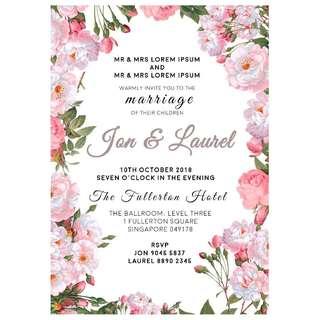 A4 Digital Wedding Invitation + Matching Place Card