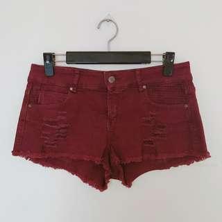🚚 Zara酒紅牛仔短褲