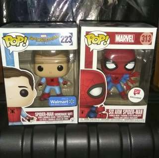 (ON HAND) Spider-Man Homemade Suit & Classic Six Arm Spider-Man Marvel Funko Pop Bundle