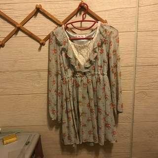 日貨專櫃品牌byebye蕾絲雪紡長袖洋裝 kashin ingni ems kiki