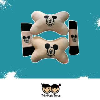 Car Set Bantal mobil 2 in 1 Motif Mickey Mouse