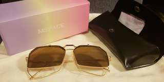Mspace 金色金屬框多邊形不規則 韓風翻蓋式太茶色鏡太陽眼鏡 Korea style sunglass 包順豐