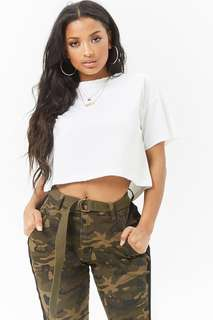 White Raw-Edge Boxy Crop Top