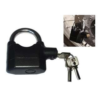 kunci gembok cakram Ban motor gembok Alarm padlock getar Ring Pendek - Hitam