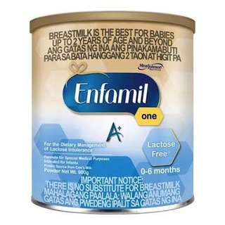 Enfamil A+ One 0-6 mos Lactose Free 900g