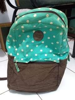 Preloved tas ransel bagpack subway vintage polkadot hijau