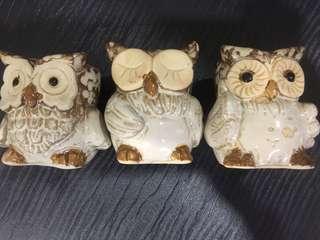 Owl airplant / cactus's ceramic pot (3perset)